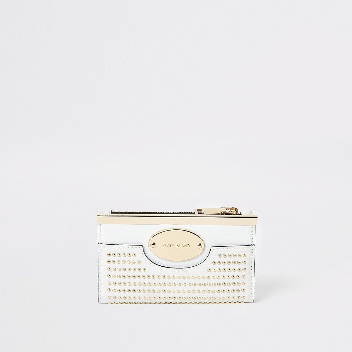 White studded mini fold out purse