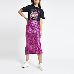 Petite pink spot bias cut midi skirt
