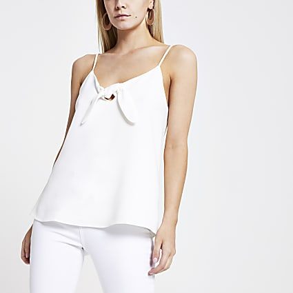 Petite white bow front cami top