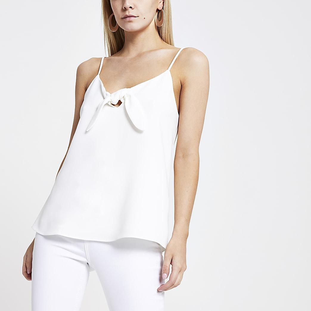 RI Petite - Witte camitop met strik voor