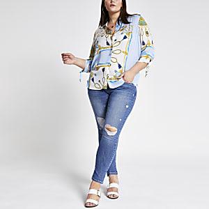 RI Plus - Blauw overhemd met kettingprint en ruches