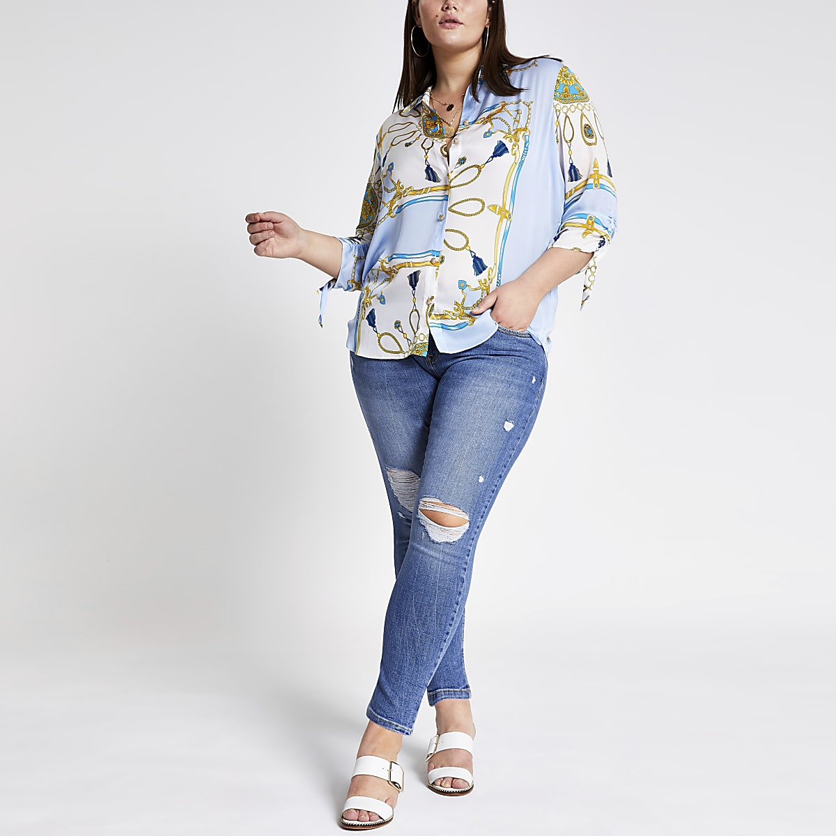 Plus blue chain print ruched shirt