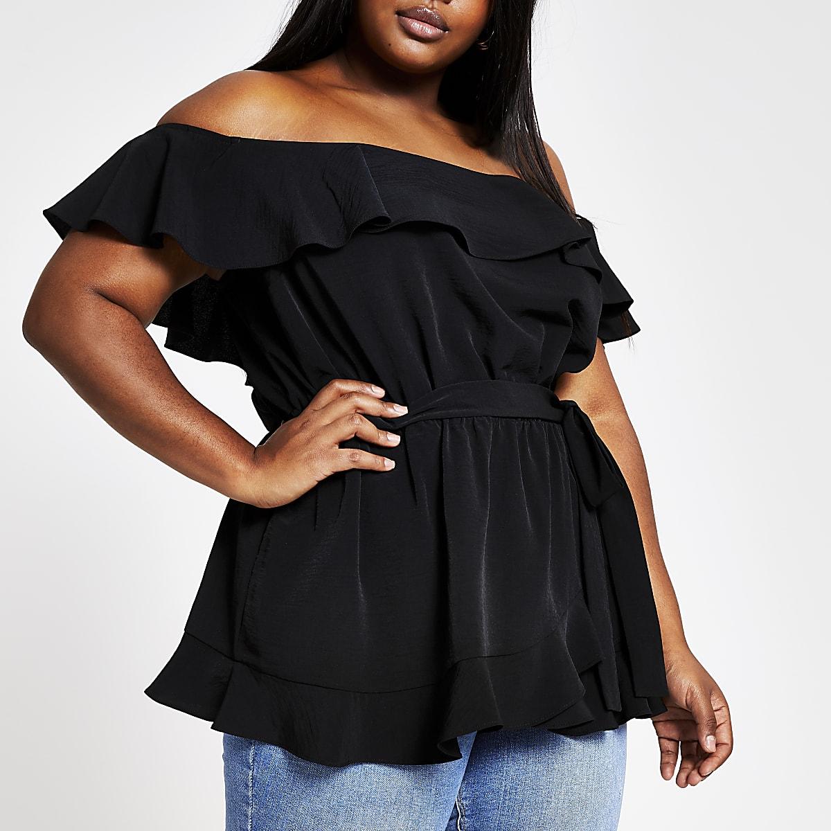 Plus black bardot top