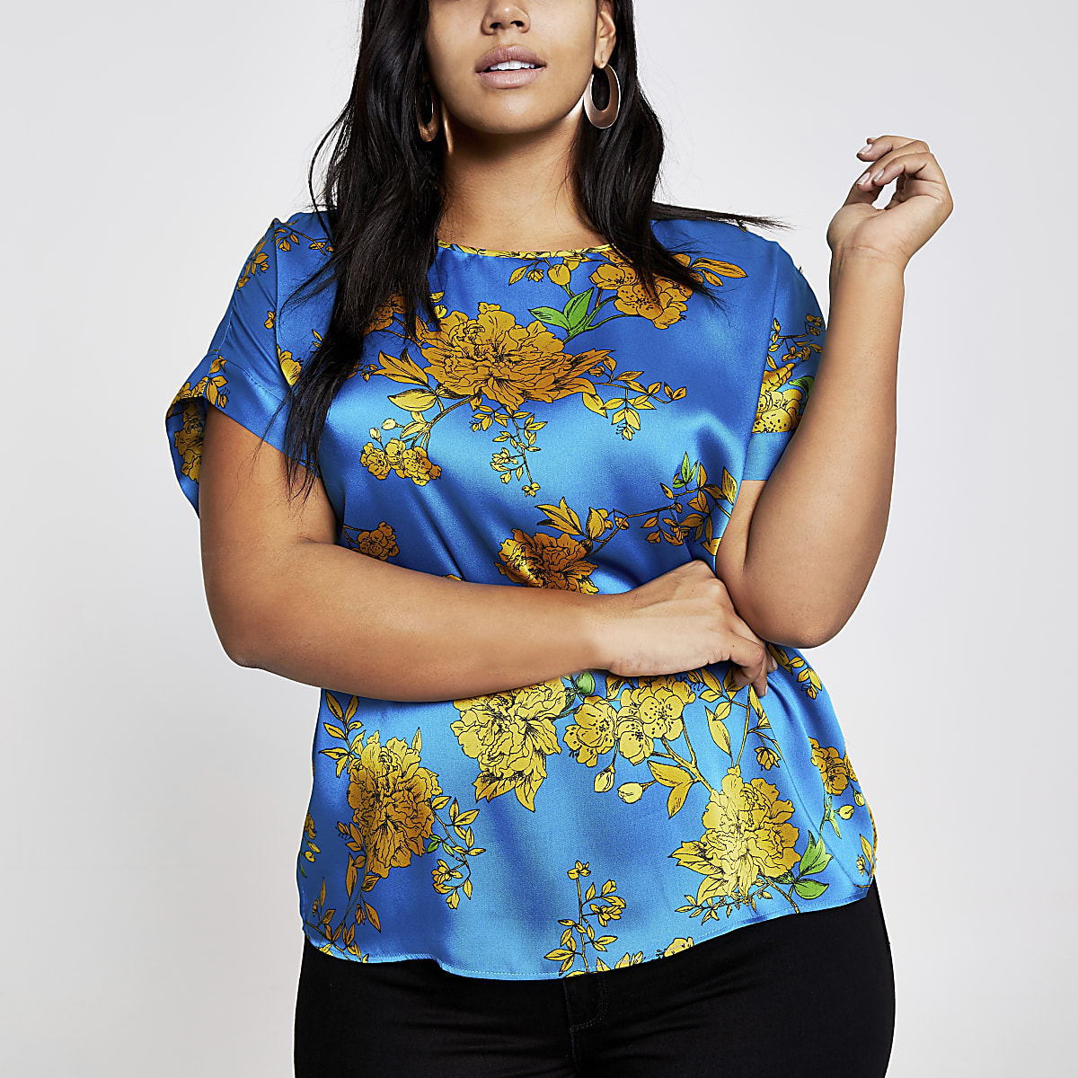 Plus blue floral T-shirt