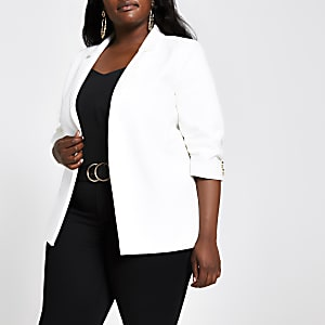 Plus white ruched sleeve blazer