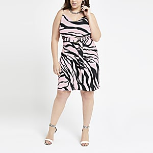 Plus pink zebra print slip dress