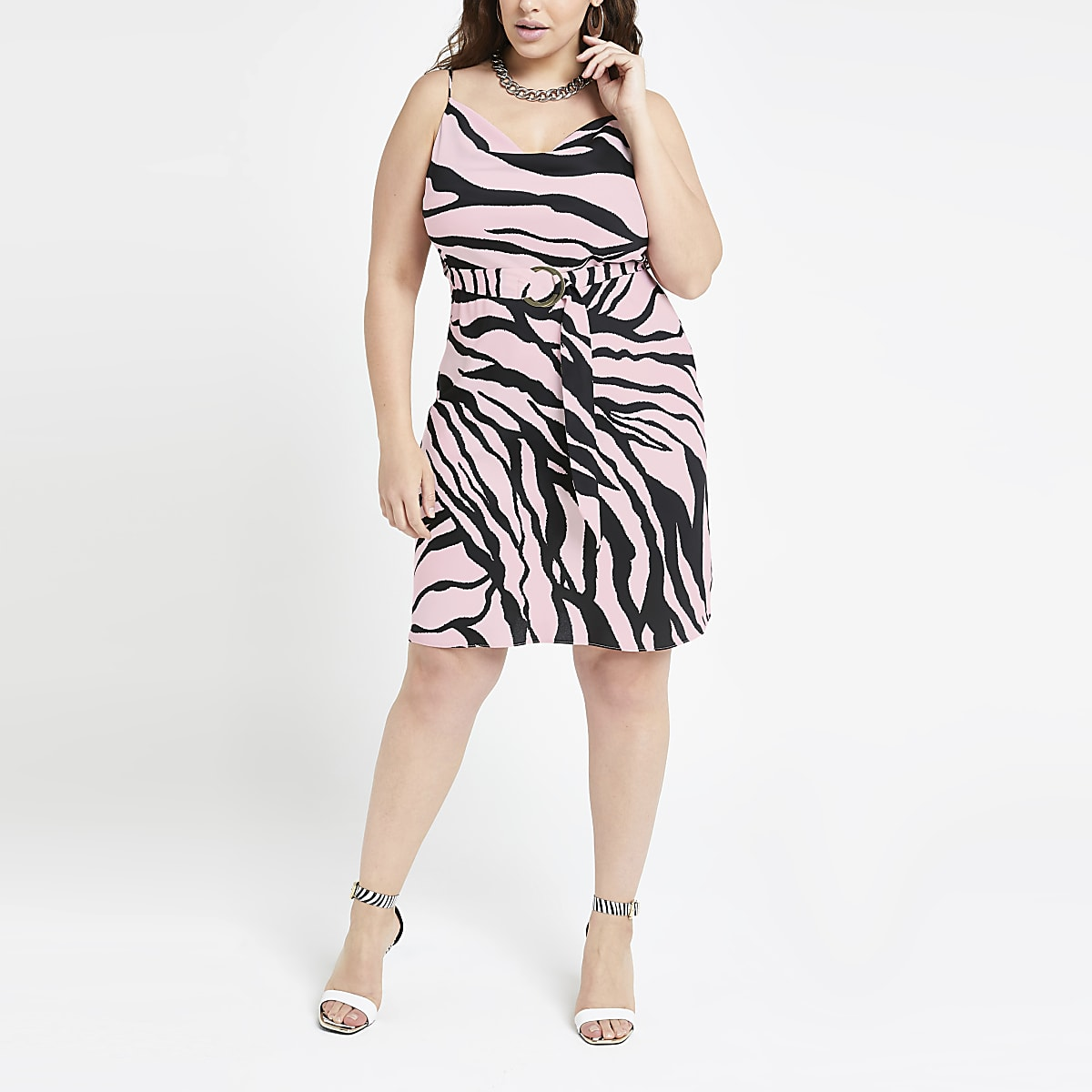 Plus pink zebra print slip dress