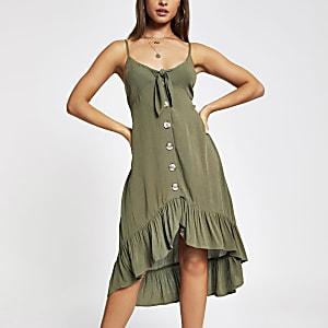 Kaki midi-jurk met knoopsluiting voor