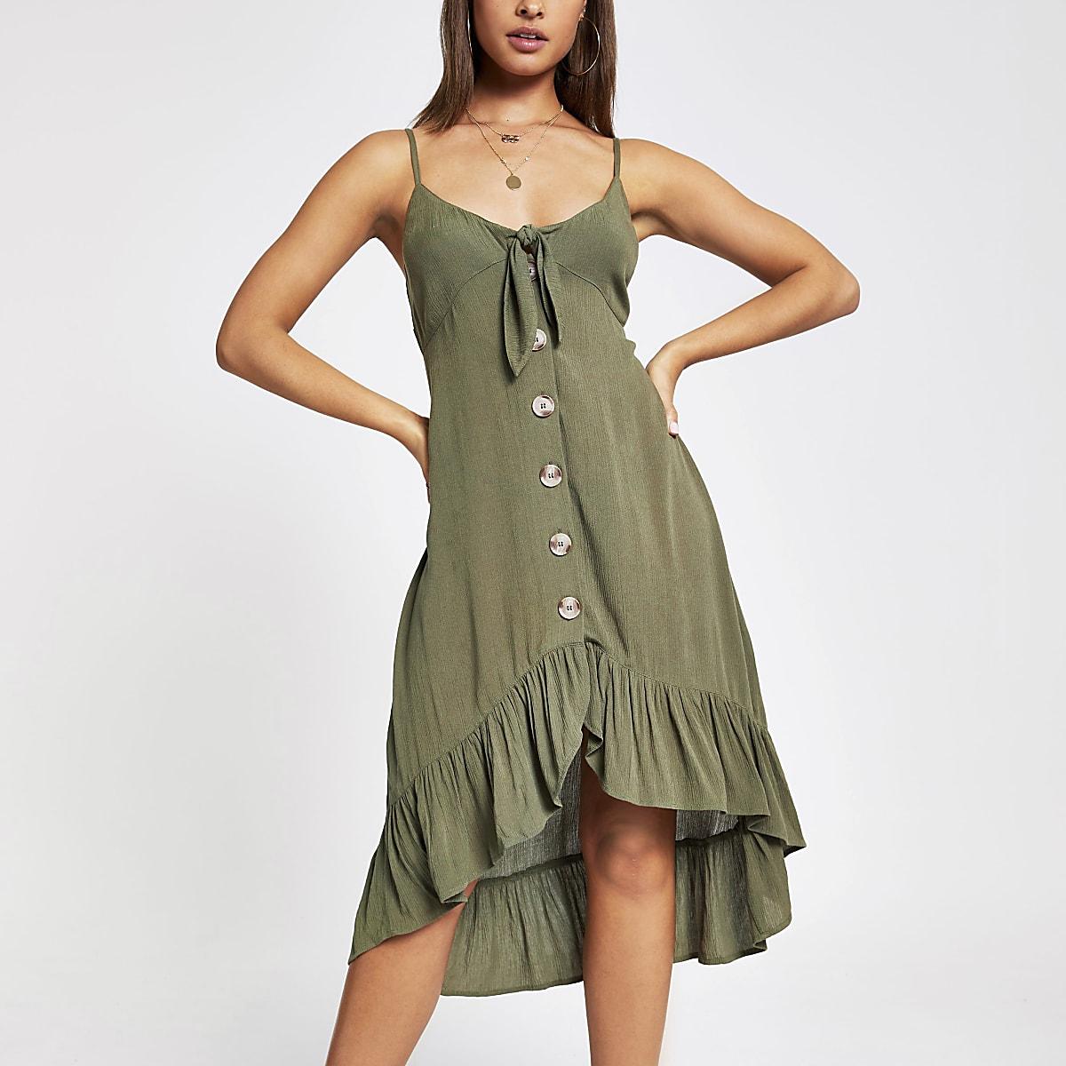 Kaki aangerimpelde jurk met knopen voor