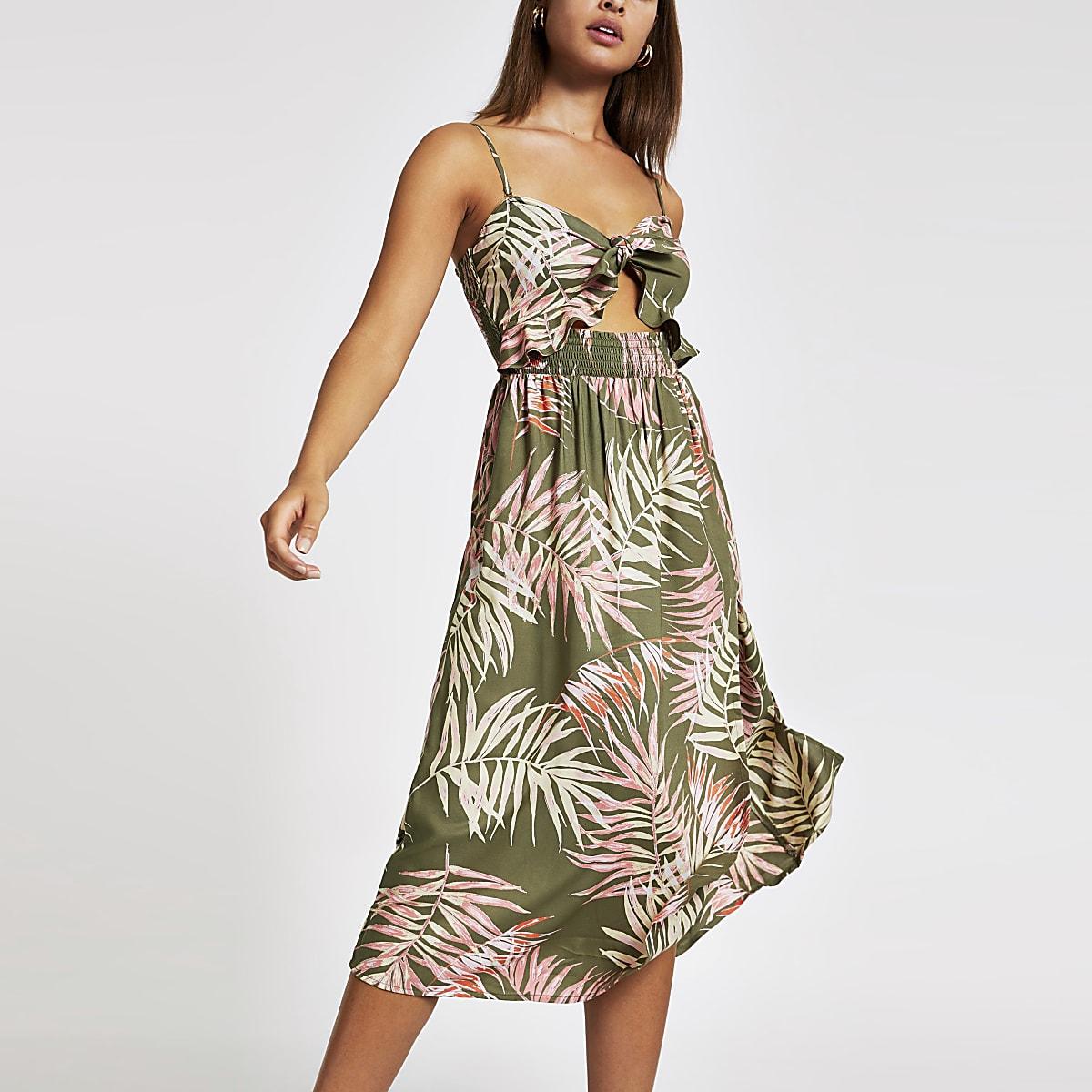 Kaki bandeau midi-jurk met print