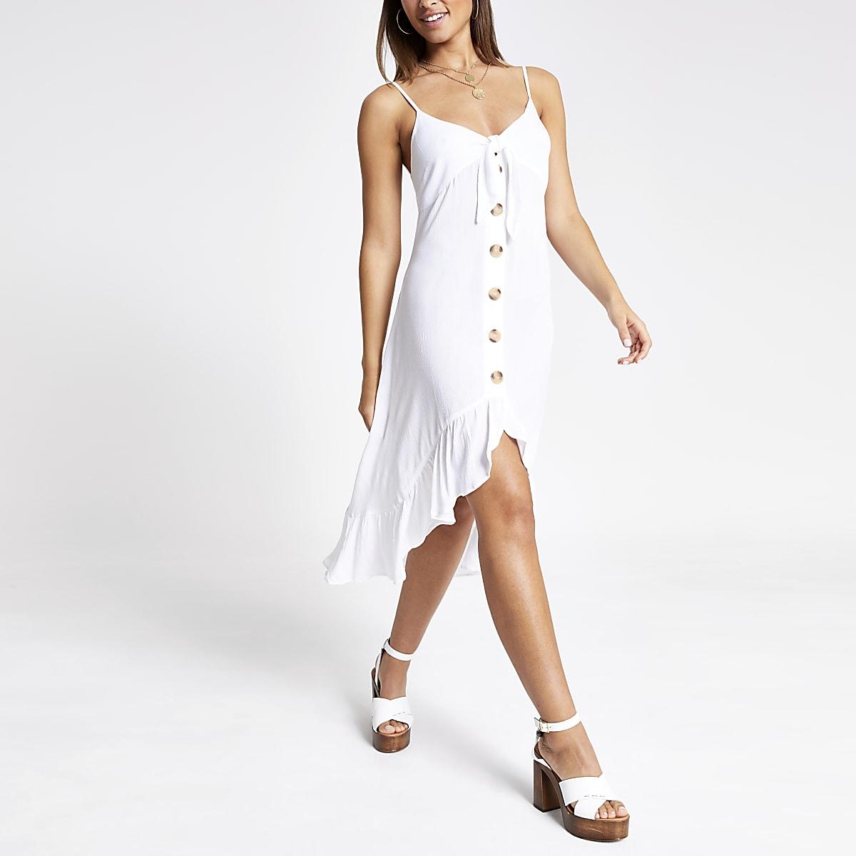 White button down tie knot midi dress