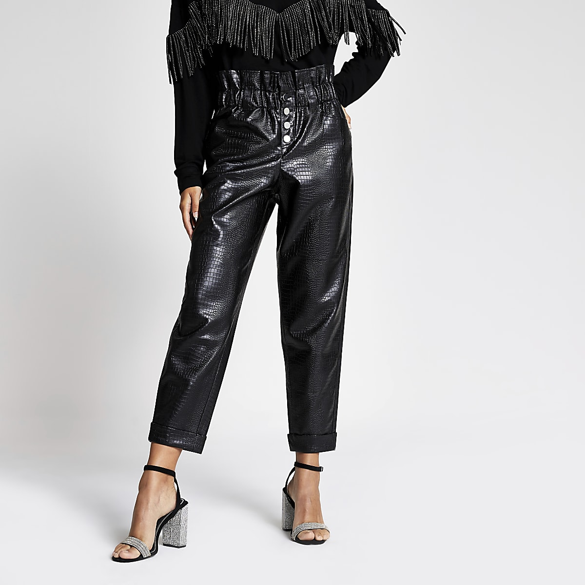 Black croc faux leather peg leg trousers