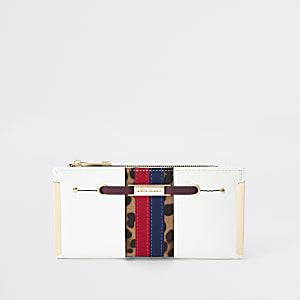 White stripe fold out purse