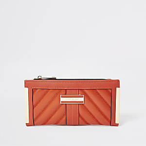 Orange quilted fold out purse