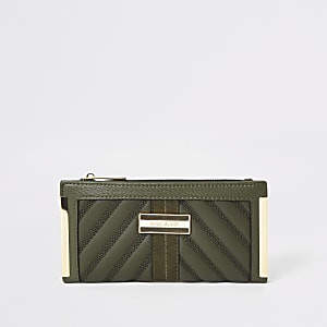 Khaki quilted fold out purse