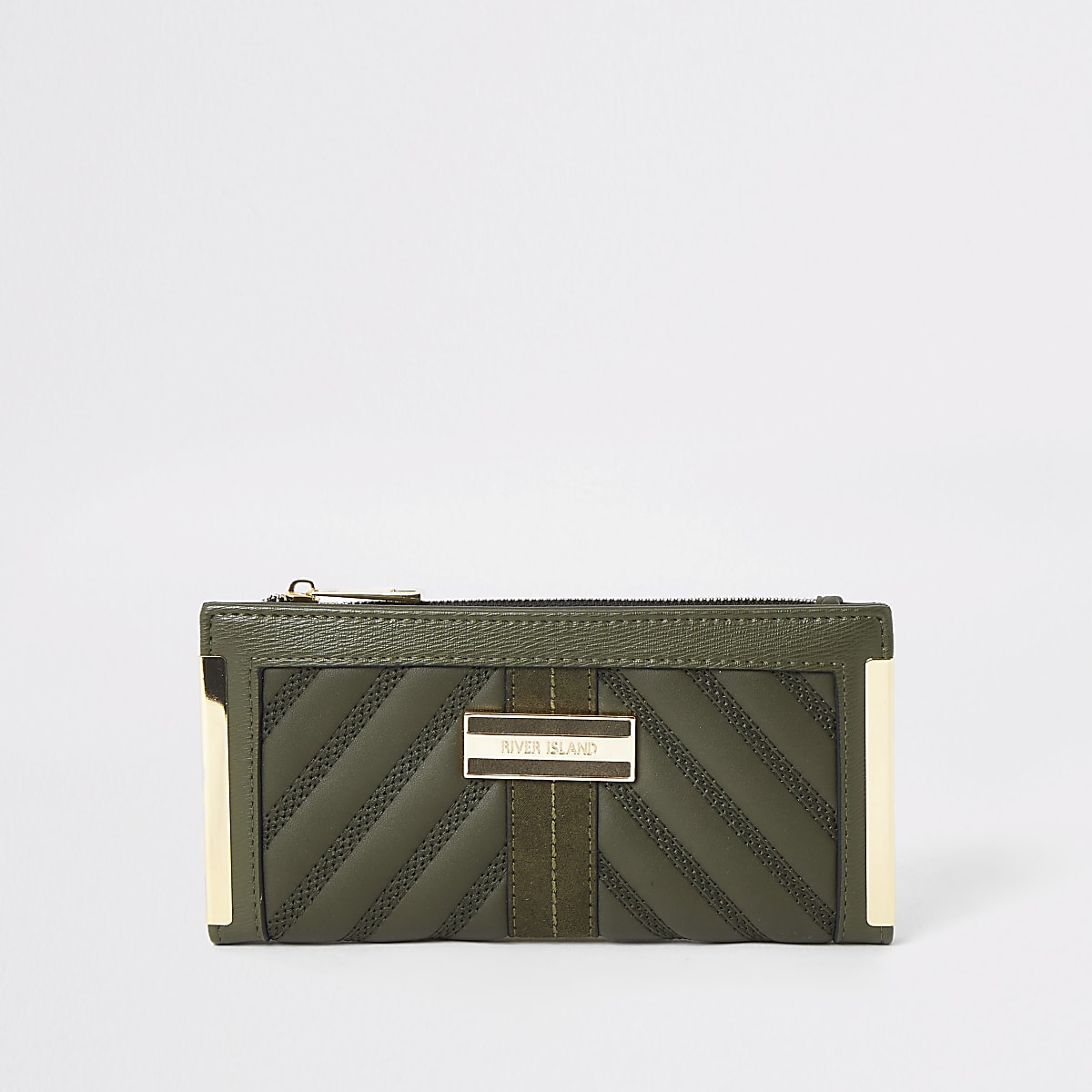 Kaki doorgestikte uitvouwbare portemonnee