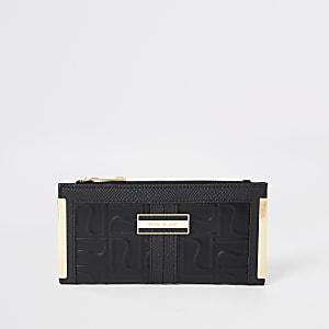 Black RI embossed foldout metal corner purse