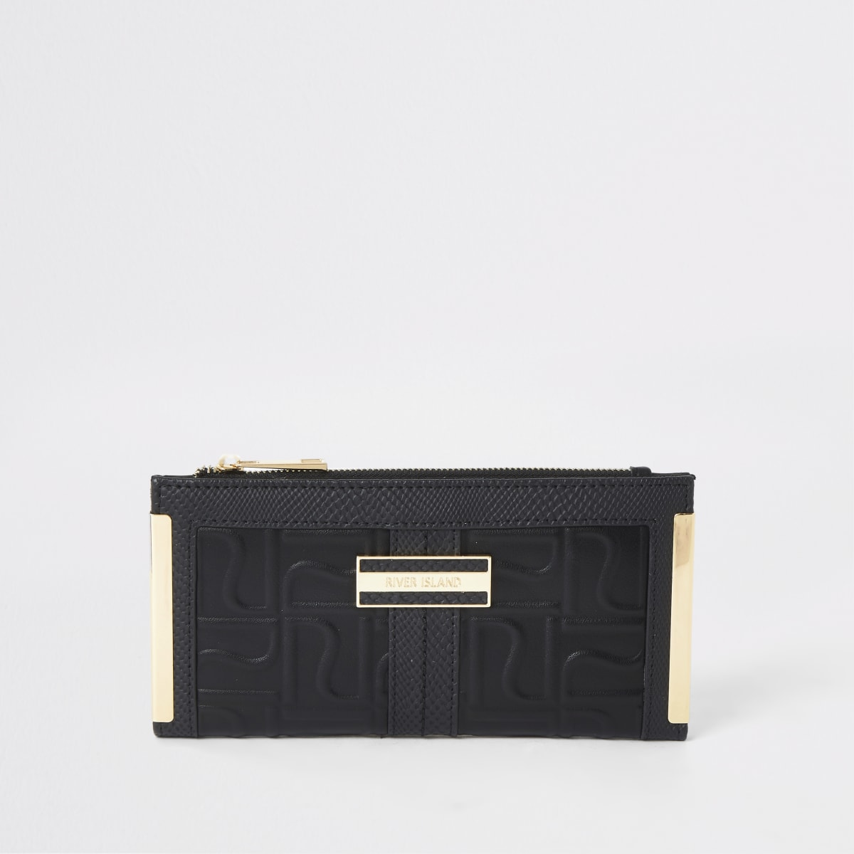 Zwarte uitvouwbare portemonnee met RI-logo in reliëf en metalen hoeken