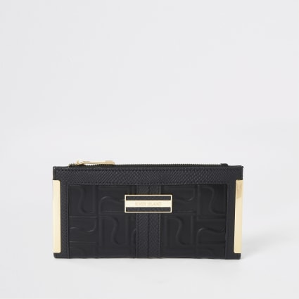 Black RI embossed foldout metal corner purse