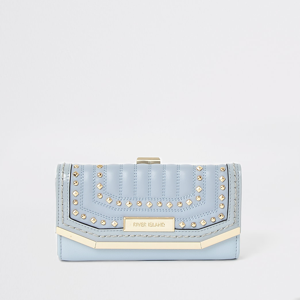 Blue studded quilted cliptop purse