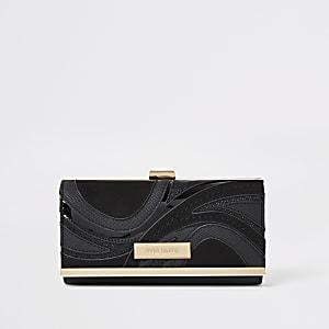 Black swirl cutabout cliptop purse