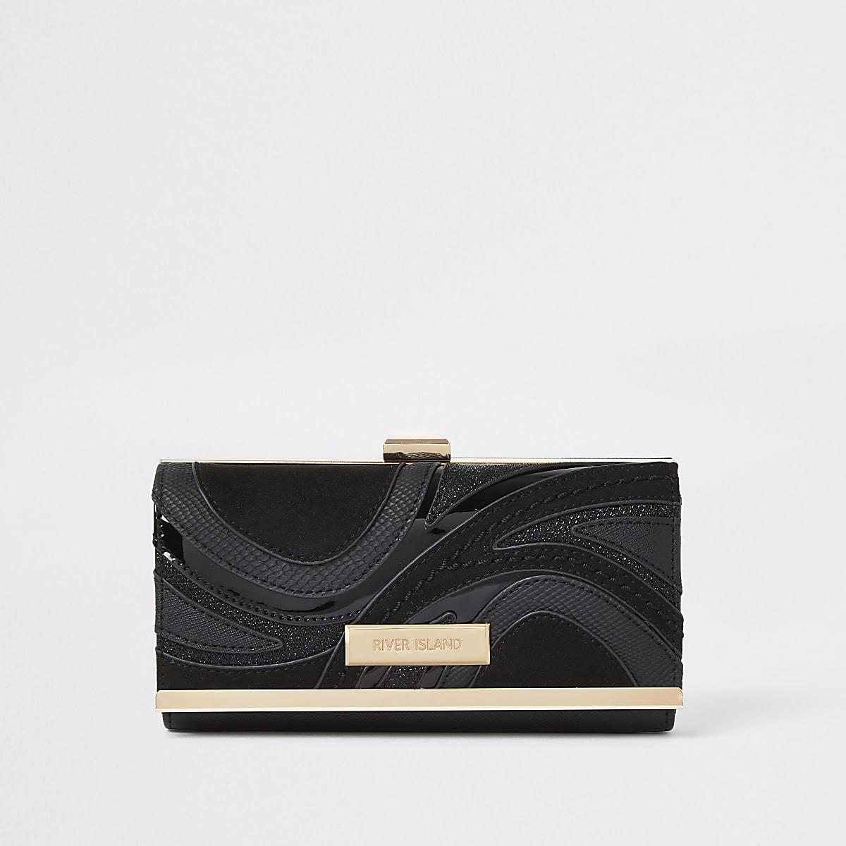 Zwarte portemonnee met druksluiting, wervelprint en uitsnede