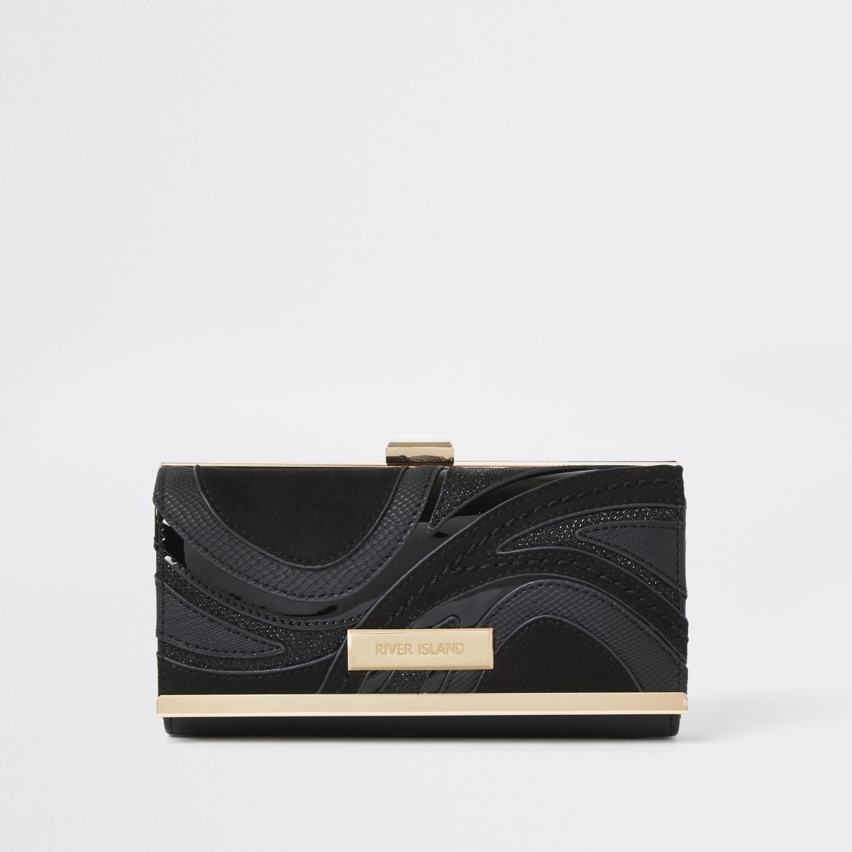 Black swirl cutabout cliptop purse