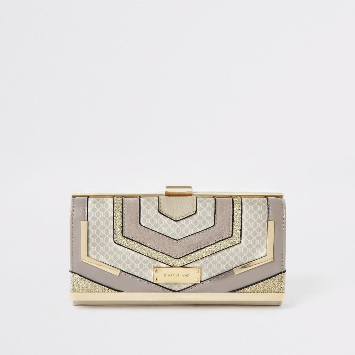 Porte-monnaie à fermoir clip beige avec découpes