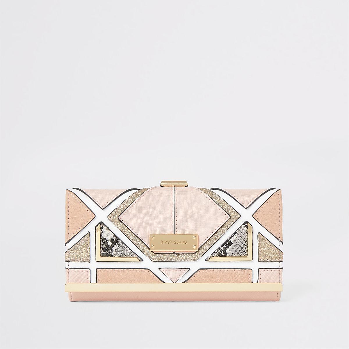 Light pink snake print panel clip top purse
