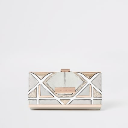 Grey triangle cut out cliptop purse