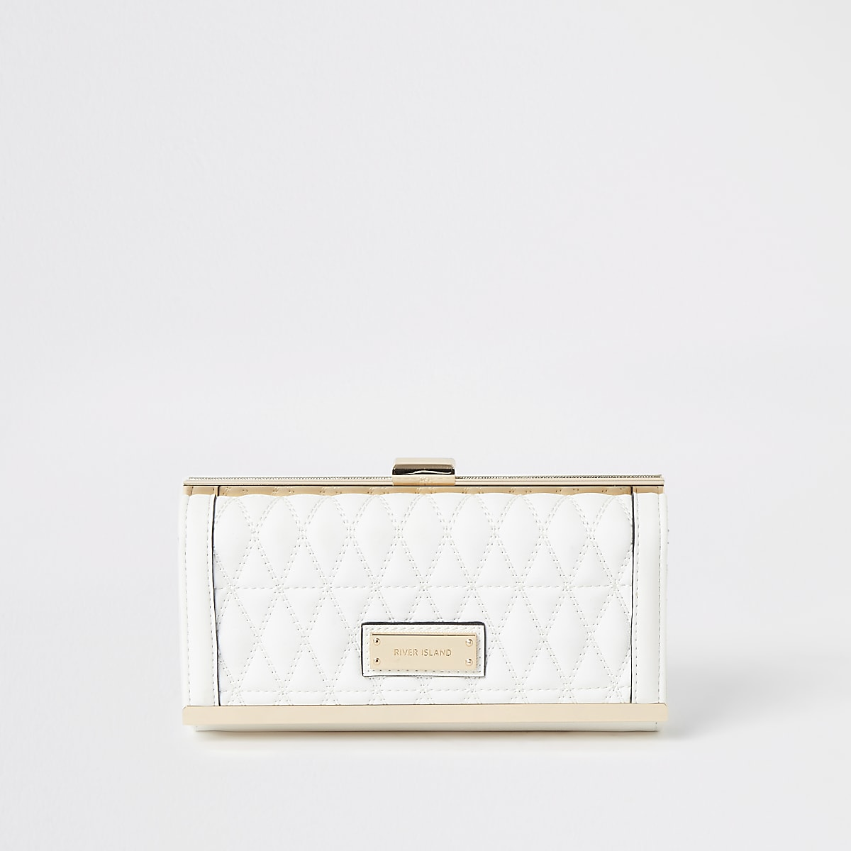 White quilted cliptop purse