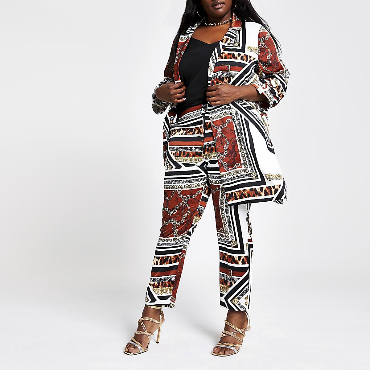 RI Plus - Bruine smaltoelopende broek met gecombineerde print