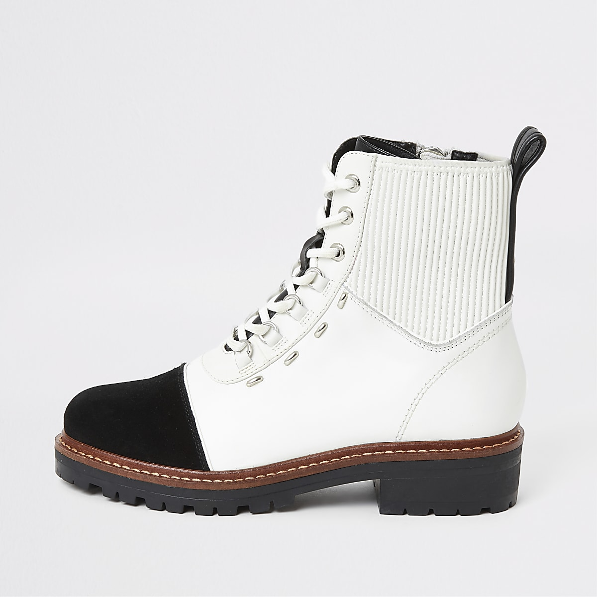 White contrast leather lace-up hiking boots