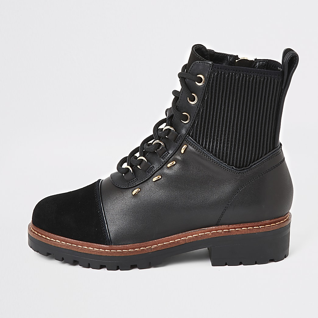 Black leather lace-up hiker boots