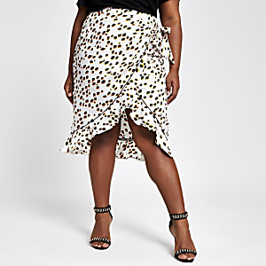 Plus white spot ruffle midi skirt