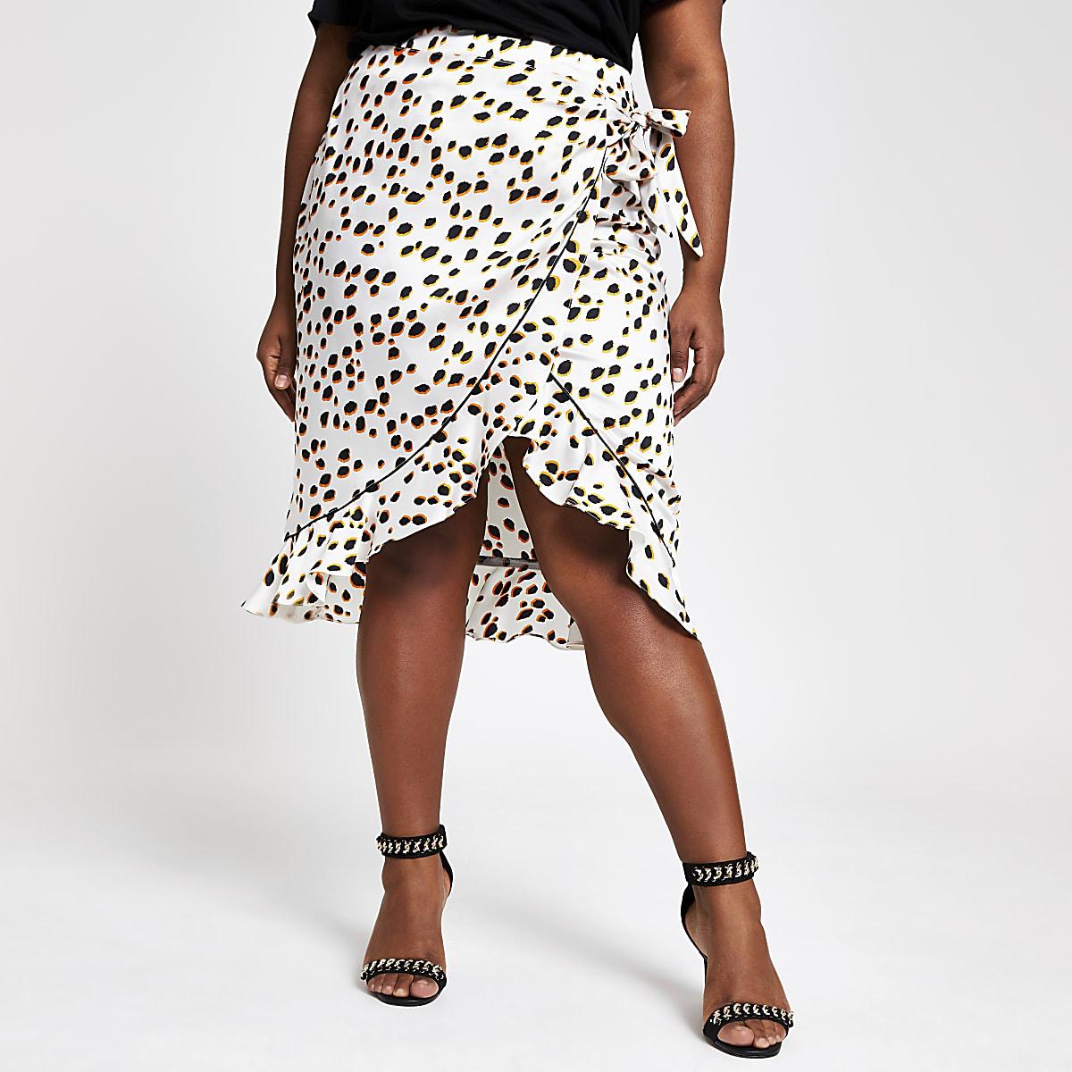 Plus white spot ruffle midi skirt
