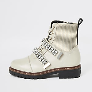 Cream faux leather embellished biker boots
