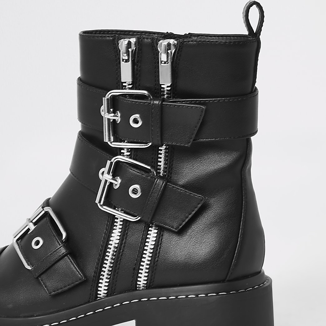 where to buy nice shoes dirt cheap Black buckle chunky biker boots