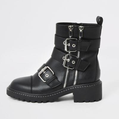 Black buckle chunky biker boots