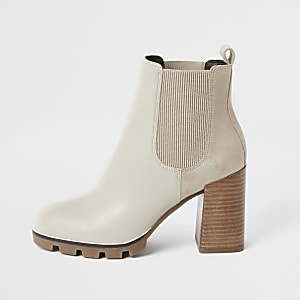 Beige Chelsea-Stiefel aus Lederimitat