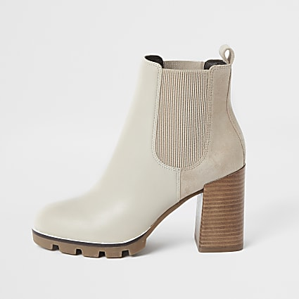 Beige chunky faux leather heeled chelsea boot