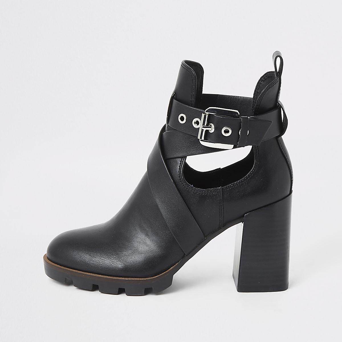 Black strappy cutout block heel boots