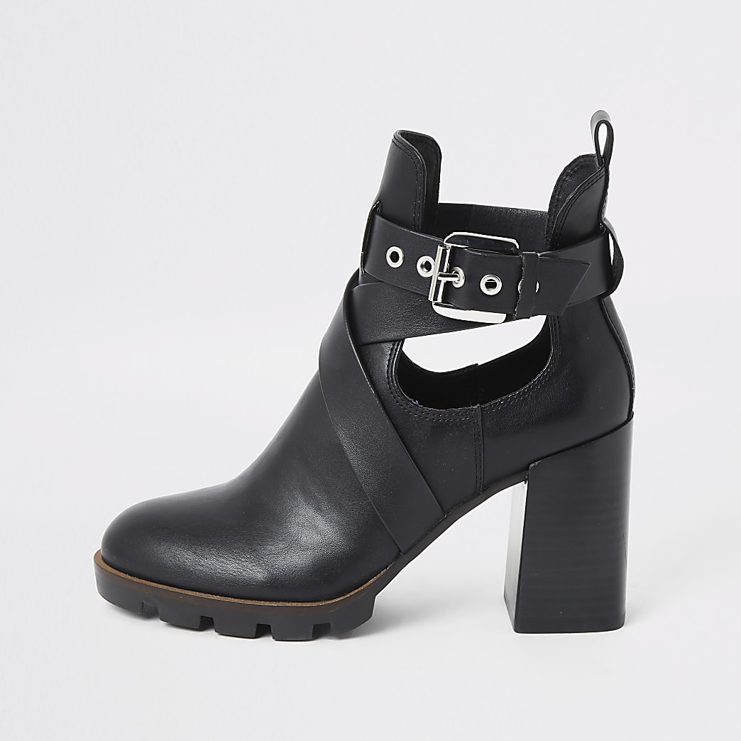Black strappy cutout block heel boots