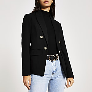 Zwarte jersey blazer van ponte-stof