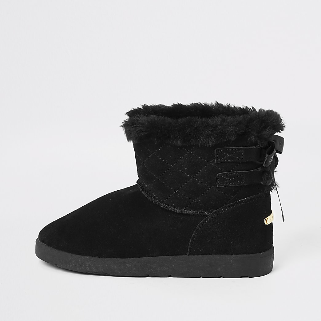 Black suede quilted faux fur lined boots