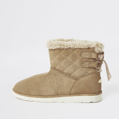 Brown Suede Quilted Faux Fur Lined Boots by River Island