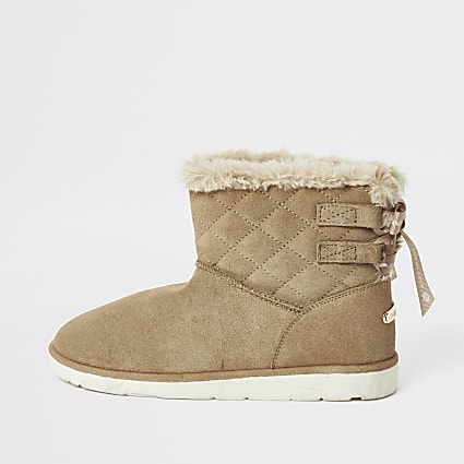 Brown suede quilted faux fur lined boots