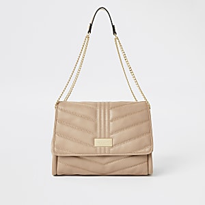 Beige quilted underarm bag