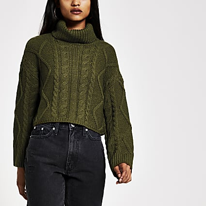 Petite khaki roll neck cropped jumper