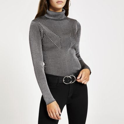 Grey ribbed metallic roll neck knitted jumper